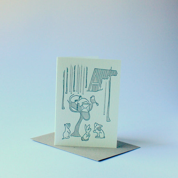 Letterpressed Christmas card - woodland creatures