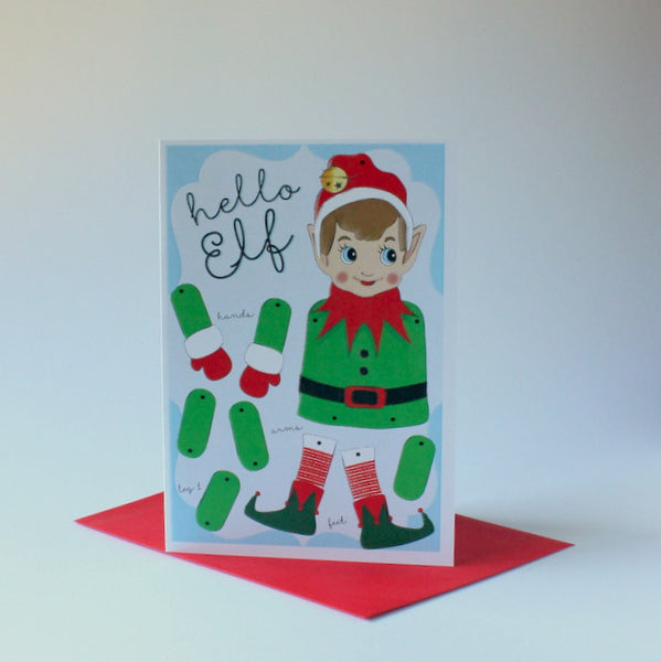 Locally designed Christmas puppet card - elf