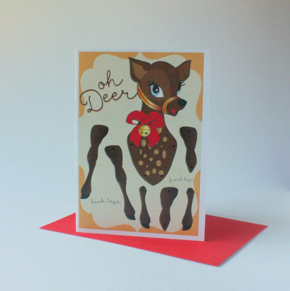 Locally designed Christmas puppet card - reindeer