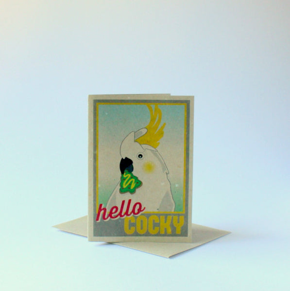 Locally made Aussie Christmas card - hello cocky