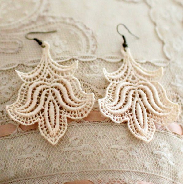 Marla cream handmade lace earrings bridal