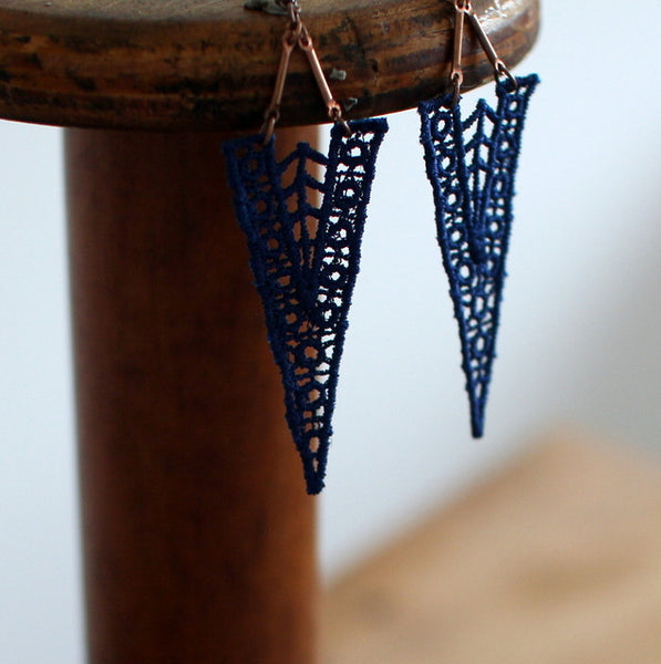 Roan Cobalt blue handmade lace earrings