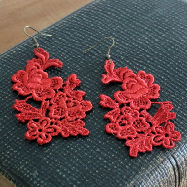 Spring Song red handmade lace earrings