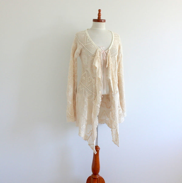 Upcycled Crochet Lace Cardigan Bell Sleeves Minettes Vintage