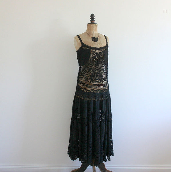 Upcycled crochet lace maxi dress