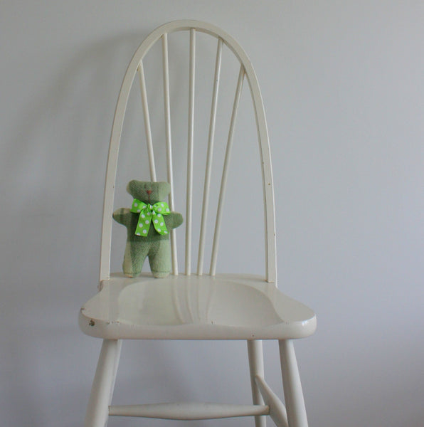 Upcycled blanket teddy bear - green multi