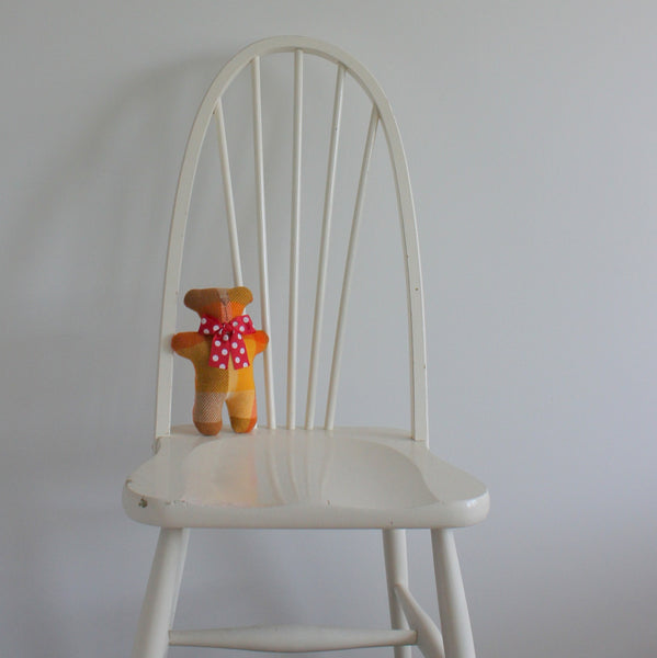 Upcycled blanket teddy bear - orange/yellow