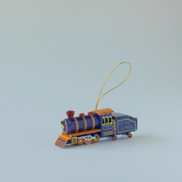 Vintage inspired tin toy train christmas ornament