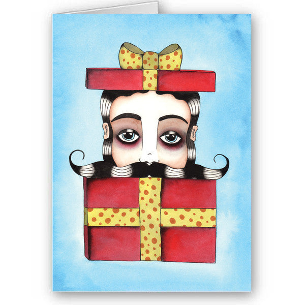 Moustache surprise card
