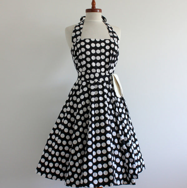 1950's style coin spot halter dress