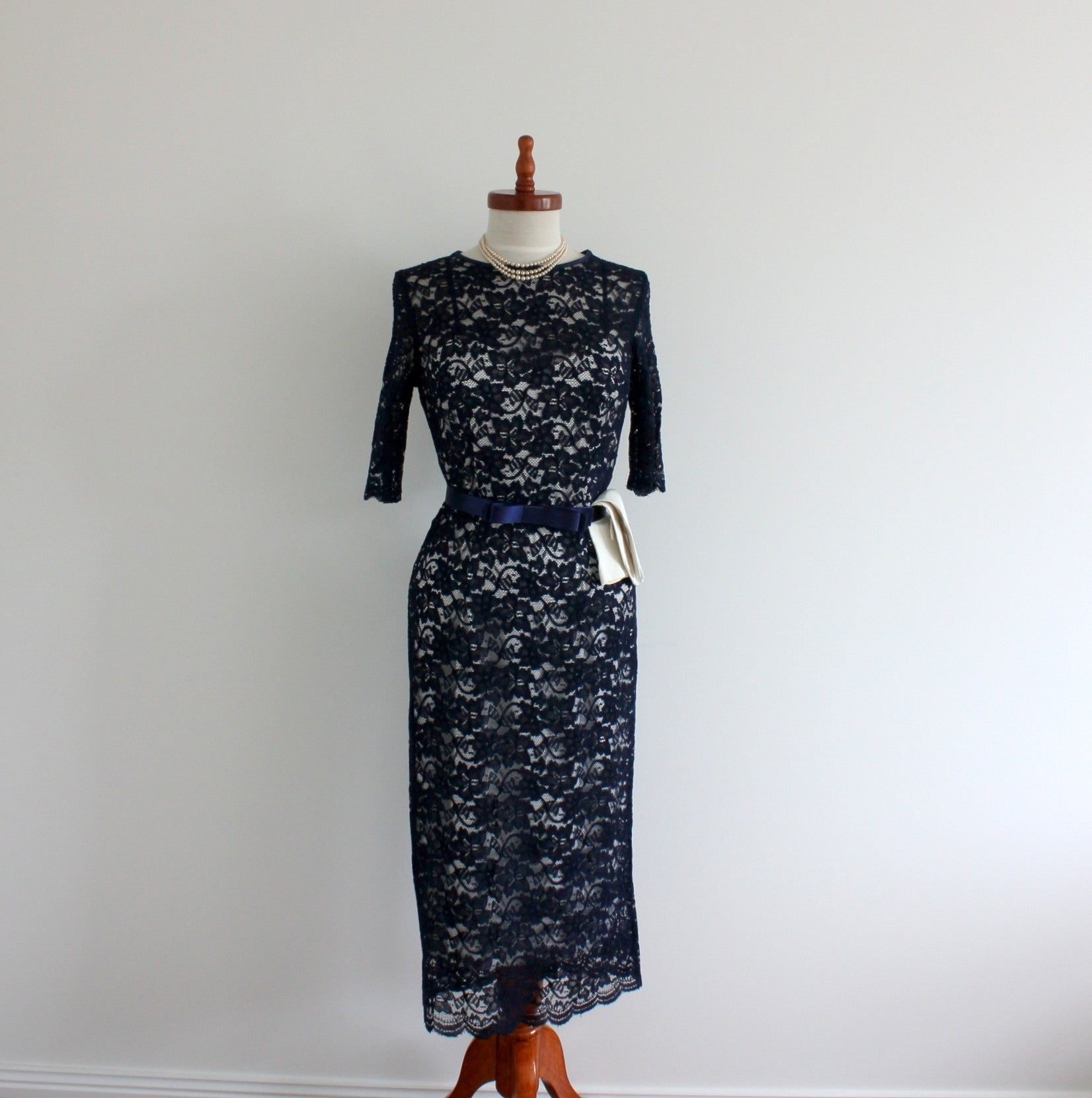 Madam Dior 1960s Style Fitted Lace Dress Minettes Vintage