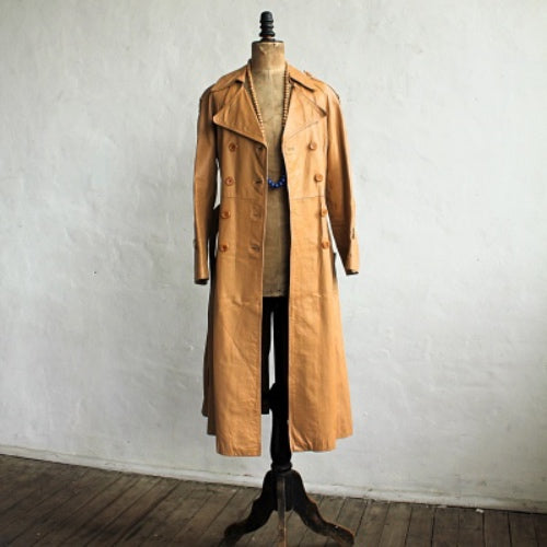 Vintage 1970's leather trench coat