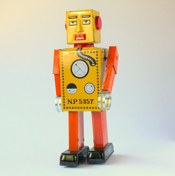 Vintage inspired tin toy wind up robot