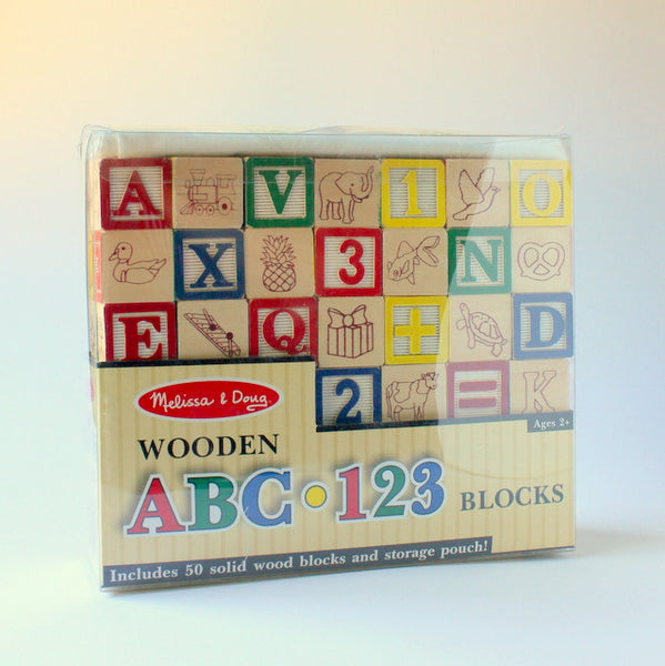Vintage inspired wooden ABC block set