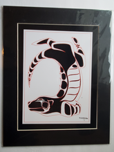 "Load image into Gallery viewer, 11x14""  Matted Otter Playing Native American Coastal Salish Tribal Art design."