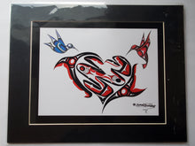 "Load image into Gallery viewer, 11x14""  Matted Hummingbird heart Native American Coastal Salish Tribal Art design."