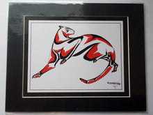 "Load image into Gallery viewer, 11x14""  Matted Cougar Native American Coastal Salish Tribal Art design."