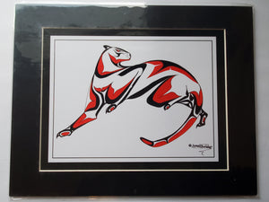 "11x14""  Matted Cougar Native American Coastal Salish Tribal Art design."