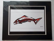 "Load image into Gallery viewer, 11x14""  Matted Fierce Salmon Native American Coastal Salish Tribal Art design."