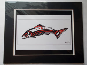 "11x14""  Matted Fierce Salmon Native American Coastal Salish Tribal Art design."