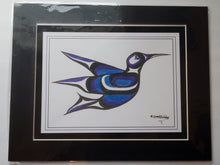 "Load image into Gallery viewer, 11x14""  Matted Hummingbird Blue Native American Coastal Salish Tribal Art design."