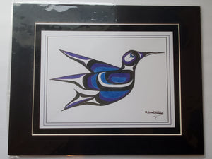 "11x14""  Matted Hummingbird Blue Native American Coastal Salish Tribal Art design."