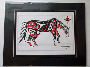 "11x14""  Matted Horse Grazing Native American Coastal Salish Tribal Art design."