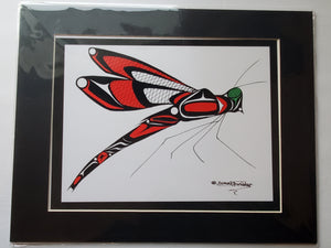 "11x14""  Matted Dragonfly Native American Coastal Salish Tribal Art design."