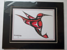 "Load image into Gallery viewer, 11x14""  Matted Hummingbird Red Native American Coastal Salish Tribal Art design."