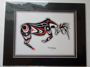 "11x14""  Matted Native American Coastal Salish Tribal Art design."