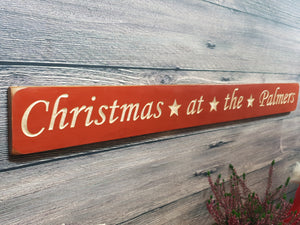 Personalised Christmas Gifts -Long wooden sign- Merry Christmas Sign