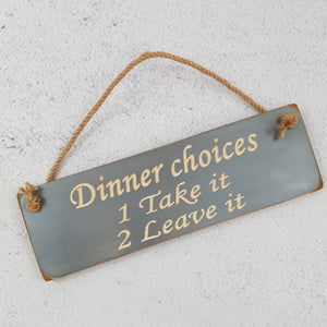 Personalised Gifts  - Hanging Sign - Dinner Choices