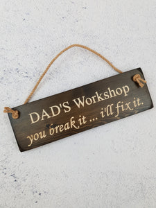 Personalised Gifts For Him - Hanging Sign - Dad's Workshop