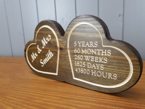 Wedding Anniversary Gifts - Wooden Hearts