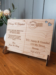 Wooden Post card - Personalised - Special gift
