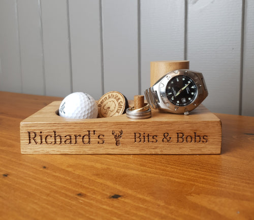 Personalised Wooden Engraved Watch Stand & Coin Tray, Birthday Gift, Dad, Daddy, Storage, Cufflinks, Keys, Change, Tidy, Desk, Custom