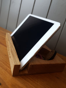 iPad/Tablet/Mobile phone holder stand Personalised Oak wood desk organizer