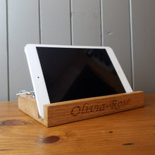 Load image into Gallery viewer, iPad/Tablet/Mobile phone holder stand Personalised Oak wood desk organizer