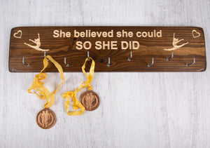 "Personalized Handmade Gifts - Medal Holders- ""She Believed She Could"""