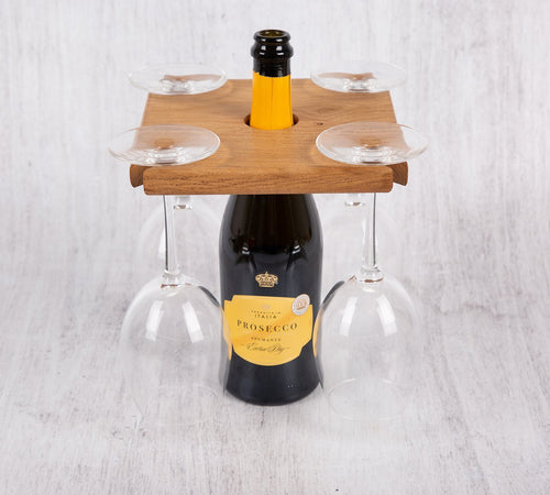 Personalized Gifts - Wine HolderWith 2 Glasses - Ideal Presents for any Occasion