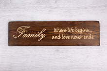 Load image into Gallery viewer, Personalised Gift-Handmade-Family Where life begins and love never ends Sign