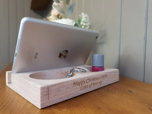 iPad/Tablet/Mobile phone holder stand Personalised beech wood desk organizer