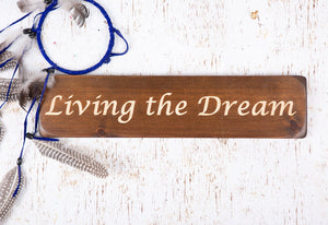 Personalised Gifts for Friends -Small Wooden Sign - Living The Dream