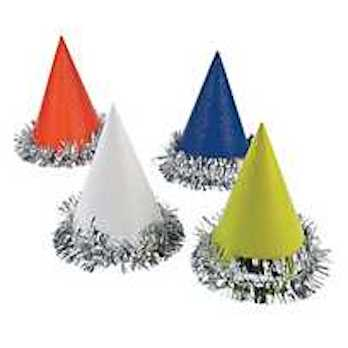 Fun Party Hats with Tinsel Base (Assortment)