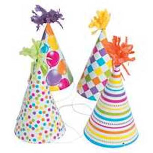 Fun Print Party Hats with Tinsel Top (Assortment)
