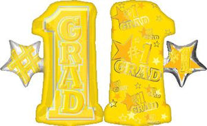yellow number one grad foil balloon