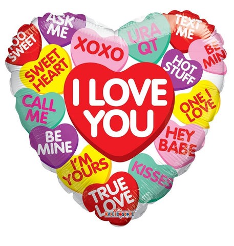 "18"" Candy Hearts ""I Love You"" Mylar Balloon"