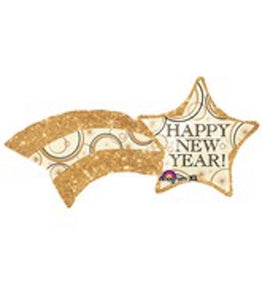 "27"" Happy New Year Shooting Star Mylar Balloon"