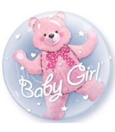 "24"" Baby Pink Bear DOUBLE BUBBLE Plastic Bubble Balloon"