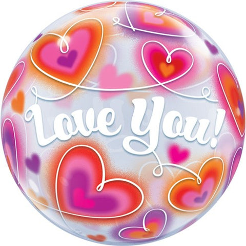 red hearts love you plastic bubble balloon